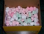 packing peanuts on top of inside box